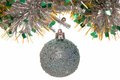 Festive silvery ball and new year s decor are on white Stock Images