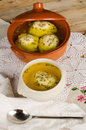 Festive soup with matza ball dumplings traditional jewish cuisine Stock Image