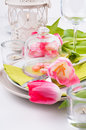 Festive spring table setting Royalty Free Stock Photography