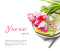 Festive spring table setting, ready template Stock Photos