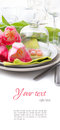 Festive spring table setting, ready template Royalty Free Stock Photo