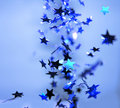 Falling Shiny Blue Stars Celebration Royalty Free Stock Photo