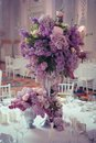 Festive table decoration in Lilac colours. Royalty Free Stock Photo