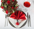 Festive table in red and white 4 Royalty Free Stock Photography