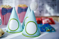 Festive table setting for birthday on celebratory decorations Royalty Free Stock Photography