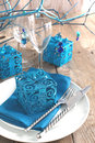 Festive table setting in blue color Stock Image
