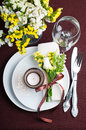 Festive table setting in brown Stock Photography