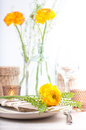 Festive table setting with flowers Royalty Free Stock Photos
