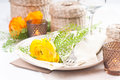 Festive table setting with flowers Royalty Free Stock Photo