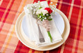 Festive table setting with flowers and vintage crockery Stock Photography