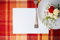 Festive table setting with flowers and vintage crockery, card te Stock Photo