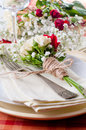 Festive table setting with flowers and vintage crockery, closeup Stock Photo