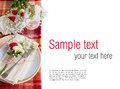 Festive table setting with flowers and vintage crockery, ready t Royalty Free Stock Image