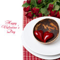 Festive table setting with red hearts and roses isolated on white Royalty Free Stock Images