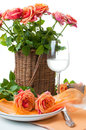 Festive table setting with roses Stock Images