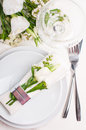 Festive table setting in white Royalty Free Stock Images