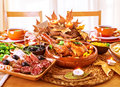 Festive thanksgiving day dinner celebration holiday at home traditional homemade tasty dishes beautiful autumnal decor Royalty Free Stock Images
