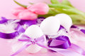 Festive traditional easter egg decoration ribbon and tulips Stock Images