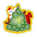 Festive vector sticker. Santa Claus on the Christmas tree of openwork snowflakes and a bag of gifts on a bright yellow Royalty Free Stock Photo