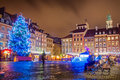 Festive warsaw market at market square in at night Royalty Free Stock Photos