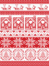 festive winter seamless pattern in cross stitch with gingerbread house, Christmas tree, heart, reindeer, sleigh, present, ornament Royalty Free Stock Photo
