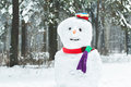 Festive winter three-ball snowman with smiley face and carrot nose Royalty Free Stock Photo