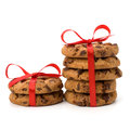 Festive wrapped chocolate pastry biscuits isolated on white background Stock Images