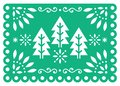 Christmas Papel Picado vector design with Xmas trees, Mexican winter paper party decorations, green and white 5x7 greeting card pa