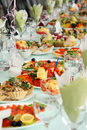Festively covered table Stock Photos