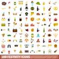 100 festivity icons set, flat style