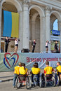 Festivity for invalids kherson ukraine september a local popular ukrainian police band general voice sing on day of town Stock Photography