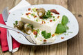 Feta Cheese blocks on a fork Royalty Free Stock Photo