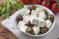 Feta cheese cubes Stock Images