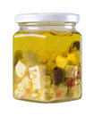 Feta cheese and olives in a jar Stock Photography