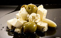 Feta - olives - garlic Royalty Free Stock Photography