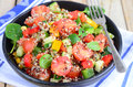Feta salad with quinoa and grilled corn baby spinach tomato apple dash of cheese Stock Images