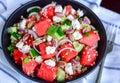 Feta salad with quinoa and watermelon Royalty Free Stock Photo