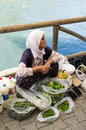Fethiye market a woman at turkey Stock Photo