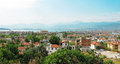 Fethiye resort in the mediterranean sea turkey panorama of city and port coast Stock Image
