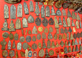 Fetishes thailand amulets popular buddhist the faith to secure a fortune by trade and hang neck the red background Stock Photo