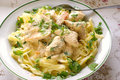 Fettuccine Alfredo with Chicken Stock Image