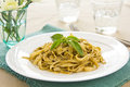 Fettuccine with pesto Royalty Free Stock Image