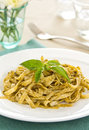 Fettuccine with pesto Royalty Free Stock Photography