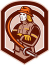 Feuerwehrmann feuerwehrmann folding arms shield retro Lizenzfreies Stockfoto