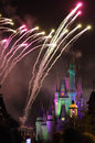 Feux d'artifice dans le royaume magique de Disney Photo stock
