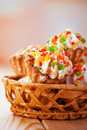 Few cakes in wicker basket Royalty Free Stock Photography