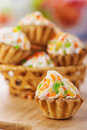 Few cakes in wicker basket Stock Images