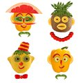 Few funny portraits from vegetables and fruits a creative set of food concepts a Stock Image