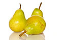 Few ripe pears on a white background Stock Photo