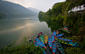 Fewa lake in pokhara nepal during sunset Stock Images